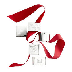 Rectangular Napkin Rings, Set of 4 - Napkin rings aren't just for formal occasions. These rectangular ones can also be personalized with the initial or monogram of your gracious host.