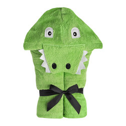 """Yikes Twins - Alligator Hooded towel - Unlike her Florida relatives, Alli Gator is a welcome surprise next to pools and ponds!  She's made of absorbent green 100% cotton terry with an embroidered face and non-chompy teeth.  Machine wash. Towel size 27""""x51"""", hood size 10""""x 8.5"""" Suitable for children ages 2 -8yrs"""