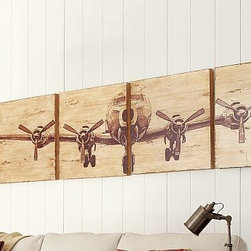 """Planked Airplane Panels, Set of 4 - Our portrait of a four-engine plane celebrates the golden age of aviation in sepia tones. Crafted of fir that is detailed with natural imperfections and splits in the wood, this artwork has a timeworn, rustic feel. 96"""" wide x 24"""" high x 2"""" thick Printed onto planked fir wood. Each set includes four squares. This product is hand finished and distressed so each will have a unique finish. Catalog / Internet Only."""