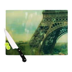 "Kess InHouse - Ann Barnes ""Paris Dreams"" Green Tower Cutting Board (11"" x 7.5"") - These sturdy tempered glass cutting boards will make everything you chop look like a Dutch painting. Perfect the art of cooking with your KESS InHouse unique art cutting board. Go for patterns or painted, either way this non-skid, dishwasher safe cutting board is perfect for preparing any artistic dinner or serving. Cut, chop, serve or frame, all of these unique cutting boards are gorgeous."