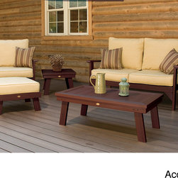 Phat Tommy - Phat Tommy 5-piece Recycled Poly Seating Set (Set of 5) - Hand-carved by Amish woodworkers,this Phat Tommy 5-piece set is made from unique eco-friendly recycled plastic for a maintenance-free natural wood look,and is complete with deep seating cushions for a comfortable,durable addition to your outdoor space.