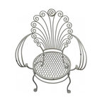 """Iron Shell Chair - Vintage white wrought iron garden chair. Elegantly weathered, its scallop shell shaped back sets it apart from the crowd. Seat height 17"""", back height 35"""", 17""""d"""
