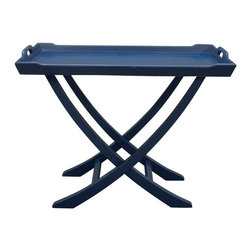 EuroLux Home - New Table Blue Painted Hardwood Chedi - Product Details