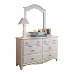 Lea Haley Drawer Double Dresser with Mirror in White