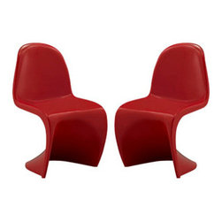 """LexMod - Slither Kids Chair Set of 2 in Red - Slither Kids Chair Set of 2 in Red - Einstein may have shown that space was curved, but this chair gave tangible expression to the idea. Now over forty years since the Slither chair was first molded, budding scientists can rediscover the cosmos with this clean and durable playroom chair! Set Includes: Two - Kids Slither Chair Tough ABS Construction, Stackable up to 4 High, Ergonomically Designed, Two Kids Sized Chairs, For Playroom or Classroom Use, Single Injection Mold, No Assembly Required Overall Product Dimensions: 13""""L x 16""""W x 21.5""""H Seat Height: 12.5""""H - Mid Century Modern Furniture."""