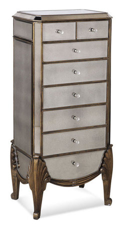 Bassett Mirror Company - Bassett Mirror T1267-927 Collette Mirrored Jewelry Chest - Jewelry Chest in Antique Mirror w/ Gold and Silver Leafing belongs to Collette Collection by Bassett Mirror Company Bassett Mirror is fluent in this art, showing a terrific contemporary furniture that will satisfy on the one hand fans of home coziness, and on the other hand - seekers of non-standard design solutions also. One of the many strengths of the Bassett Mirror is using high quality materials for perfect embodiment of brilliant design ideas. Jewelry Chest (1)