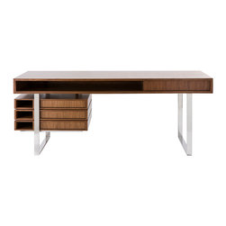 Cliff Young Ltd. - Boxeo Desk - An instant classic, the Boxeo desk is versatile and fully customizable for any home-office needs.  Gorgeous geometry, solid construction and engineering, perfect walnut finishing and crisp stainless steel are balanced and airy in this desk design.