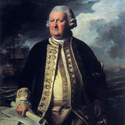 """John Singleton Copley Clark Gayton, Admiral of the White   Print - 16"""" x 20"""" John Singleton Copley Clark Gayton, Admiral of the White premium archival print reproduced to meet museum quality standards. Our museum quality archival prints are produced using high-precision print technology for a more accurate reproduction printed on high quality, heavyweight matte presentation paper with fade-resistant, archival inks. Our progressive business model allows us to offer works of art to you at the best wholesale pricing, significantly less than art gallery prices, affordable to all. This line of artwork is produced with extra white border space (if you choose to have it framed, for your framer to work with to frame properly or utilize a larger mat and/or frame).  We present a comprehensive collection of exceptional art reproductions byJohn Singleton Copley."""