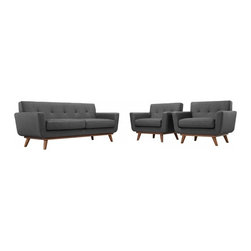Modway Imports - Modway EEI-1347-DOR Engage Armchairs and Loveseat Set of 3 In Gray - Modway EEI-1347-DOR Engage Armchairs and Loveseat Set of 3 In Gray
