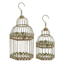 Benzara - Birdcages in Gold Antique Polish Floral Pattern - Set of 2 - Compact and stunning, this lovely bird cage is ideal to keep your favorite bird as pets.. Place some candles or accessorize it with a few interesting flowers and you will have a creative decor piece for yourself. The lovely gold antique polish gives a formal and lively look to this bird cage. Style can be taken to a new level with this gorgeous bird cage when placed as a center piece or when hung on windows. Its versatile design can be used to create show pieces out of it This stunning bird cage is sure to get you tons of compliments from your guests for its workmanship that has delicate floral pattern all around. It is an enchanting and alluring decorative item that is crafted from simple yet sturdy metal.