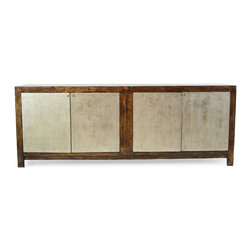 Palma Sideboard - Made of reclaimed wood, this 8-foot sideboard is beautiful and practical. It's the perfect piece to house electronics out of sight while offering plenty of room for a large flat-screen TV. The gold- and silver-leaf front doors add just the right touch of glam.