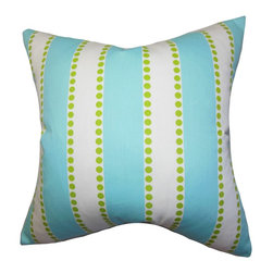 """The Pillow Collection - Odienne Stripes Pillow Blue 18"""" x 18"""" - Versatile and modern, this chic accent pillow instantly brightens your living room or bedroom with its refreshing color palette and a classic stripe pattern. This square pillow features a bold turquoise blue, chartreuse green and white hues. Perfect for indoor use, this 100% cotton-made decor pillow ensures long lasting quality. Hidden zipper closure for easy cover removal.  Knife edge finish on all four sides.  Reversible pillow with the same fabric on the back side.  Spot cleaning suggested."""