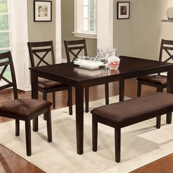 Furniture of America - Furniture of America Normandie 6-Piece Espresso Dinette Set with Bench - With its X-back dining chairs, composed with soft microfiber seating, this six-piece dinette is poised to complete your dining room. With its warm espresso color, this dinette set is sturdy and built to last.