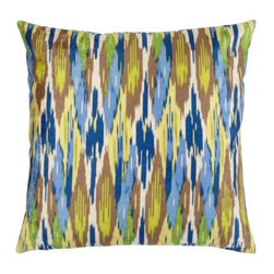 "Z Gallerie - Calypso Pillow 24"" - Enliven your d̩cor with saturated hues of lemon, sapphire, ivory and aloe with our exclusive Calypso Pillows. Inspired by traditional ikat patterns, blends of colors decoratively intermingle, creating a stunning display of contrast and texture. Display as a show stopping accent pillow, or pair together with a contrasting mix of prints for an enticing display of pattern.  Generously sized at 24۝ square and filled with pure feathers, our Calypso Pillows are the ultimate in sink-into sumptuousness. Available in Mandarin and Sapphire."