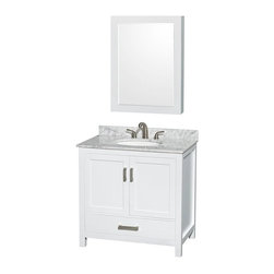 Wyndham Collection - Wyndham Collection WCS141436SWH Sheffield 36-in. Single Bathroom Vanity Set with - Shop for Bathroom Cabinets from Hayneedle.com! We won't spoil your remodeling tricks but when people come over and see the Wyndham Collection WCS141436SWH Sheffield 36-in. Single Bathroom Vanity Set with Medicine Cabinet - White at the center of your washroom they'll wonder if you can revamp their bathroom next. The simple versatile style of this vanity starts with a body of solid hardwood beneath the vanity top and undermount sink of your choice. If you have another idea for sink or vanity top you can also choose to purchase this vanity without either. The body of this charming white-finished vanity is formed from solid wood that undergoes a 12-step process that results in an environmentally friendly low-VOC painted finish that's highly moisture-resistant. A single deep drawer slides on fully extendable metal glides and sits beneath a large open storage compartment that's covered by a pair of double doors. Both the drawer and doors close on soft-close latches. A matching medicine cabinet sports a beveled mirror on the front and a pair of interior shelves for the practical convenience that you need in your washroom.Product Dimensions:Vanity dimensions with top: 36W x 22D x 35H in.Cabinet dimensions: 24W x 6.25D x 33H in. About the Wyndham CollectionWyndham and the Wyndham collection are all about refinement detailing uniqueness quality and longevity. They are dedicated to the quality of their products and own the factory where each piece is constructed. This allows Wyndham to offer products that reflect the rigorous quality standards required for every piece that is offered to their customers. The Wyndham collection showcases elegant modern design styles that highlight functionality and style in every detail.