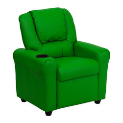 Flash Furniture - Contemporary Green Vinyl Kids Recliner with Cup Holder and Headrest - Kids will now be able to enjoy the comfort that adults experience with a comfortable recliner that was made just for them! This chair features a strong wood frame with soft foam and then enveloped in durable vinyl upholstery for your active child. Choose from an array of colors that will best suit your child's personality or bedroom. This petite sized recliner is highlighted with a cup holder in the arm to rest their drink during their favorite show or while reading a book.