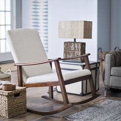 Belham Living Holden Modern Rocking Chair, Upholstered, Ivory - I love wooden rocking chairs, but they don't always look comfy. The padded seat and back make this one look just right for late nights of rocking baby back to sleep.