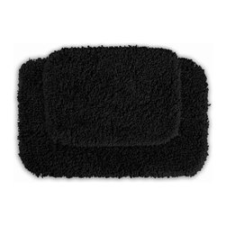 None - Serenity Black 2-piece Bath Rug Set - Luxuriate in the deep pile of the Serenity bath and spa collection. These two black rugs are created from durable, machine-washable nylon with non-skid latex backing for safety.