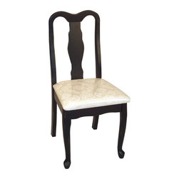 Welcome Home Accents - Ebony Desk Chair - Ebony finish desk chair.Easy assembly-neutral cream fabric cushion.  Perfect for the home office or anywhere an extra chair is needed. Some assembly required.  Desk and Hutch  sold separately.