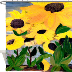 usa - Garden Sun Flowers Shower Curtain - Beautiful shower curtains created from my original art work. Each curtain is made of a thick water resistant polyester fabric. The permanently applied art work appears on the front side with the inside being white. 12 button holes for easy hanging, machine washable and most importantly made in the USA. Shower rod and rings not included. Size is a standard 70''x70''