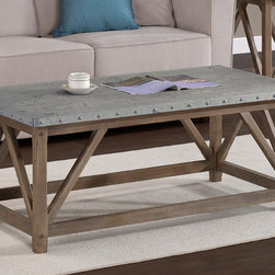 None - Zinc Top Bridge Coffee Table - Add a stylish accent to your living room with this zinc-top wood coffee table. The nailhead details on the top of the table give it a unique look,and the wood-and-zinc construction makes this coffee table sturdy enough for years of use.
