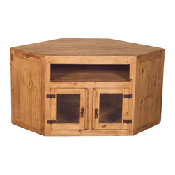 ... designed to hold a larger TV. Glass doors and solid wood construction