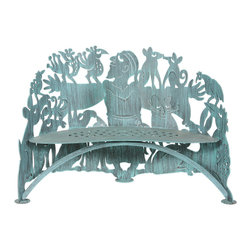 Cricket Forge - St Francis Bench - St. Francis is a symbol of the protection and stewardship of the environment and all within it. Celebrate nature and all creatures, great and small, with this unique and fun St. Francis bench. Hand painted using a dry brush technique in our signature Verdi color.