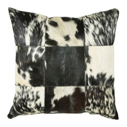 "Black Off White Patchwork Animal Print 18"" x 18"" Pillow  Set of 2 - *18"" x 18"" Pillow with Hidden Zipper"