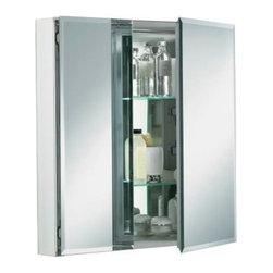 """KOHLER - KOHLER Aluminum Two-Door Medicine Cabinet, 25""""w X 26""""h X 5""""d - KOHLER K-CB-CLC2526FS 25""""W x 26""""H x 5""""D Aluminum Two-Door Medicine Cabinet with Square Mirrored Door"""