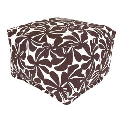Majestic Home - Outdoor Chocolate Plantation Large Ottoman - Add a little character to your living room or patio with the Majestic Home Goods Large Ottoman. This Ottoman is the perfect accessory to add comfort and style to any room while functioning as a decorative foot stool, pouf, or coffee table. Woven from outdoor treated polyester, these ottomans have up to 1000 hours of U.V. protection and are able to withstand all of natures elements. The beanbag inserts are eco-friendly by using up to 50% recycled polystyrene beads, and the removable zippered slipcovers are conveniently machine-washable.
