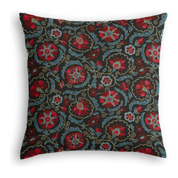 Navy & Red Suzani Custom Throw Pillow - The every-style accent pillow: this Simple Throw Pillow works in any space.  Perfectly cut to be extra fluffy, you'll not only love admiring it from afar but snuggling up to it too!  We love it in this eclectic swirling suzani in berry red & aqua on navy blue linen.