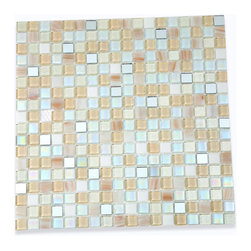 """Whimsical Casablanca Glass Tile - Whimsical Casablanca Glass Tile Add a pop to any room with these beautiful tiles that are versatile; great to use for back splash for a kitchen or a fireplace. This tile is great to use for the bathroom, or kitchen installation. Chip Size: 5/8"""" x 5/8"""" Color: White, Iridescent, Cream, Metallic Gold, Hint of Bronze Glass and Mirror Finish: Polished and Textured Sold by the Sheet - each sheet measures 11 3/4"""" x 11 3/4"""" (0.96 sq. ft.) Thickness: 3mm"""