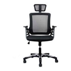 Techni Mobili - Techni Mobili Executive High Back Chair with Headrest in Black - Techni Mobili - Office Chairs - RTA802HBK - The Techni Mobili Executive High Back Mesh Chair has a modern design with breathable open mesh back support, a contoured fabric seat cushion, height-adjustable headrest, and a reclining back with locking lever and tension control knob. Dual wheel non-marking casters and 5-point heavy-duty polished nylon base provide durable, stable mobility.