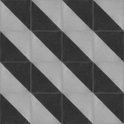 """Oblique Diagonal 8""""x8"""" Cement Tiles by Tesselle - Oblique is a cement tile in a simple diagonal pattern that can create a myriad of patterns across your surface.  Shown here in a diagonal layout. Oblique is a cement tile that is available in the following sizes:  3""""x3"""", 4""""x4"""", 6""""x6"""", 8""""x8"""", 10""""x10"""" and 12""""x12"""".  It is a 2-color design that can be custom-made in any combination of Tesselle's 60 colors."""