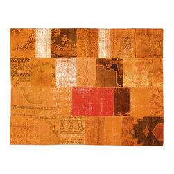 Limited Edition - Limited Edition Mystic Carpet (Orange) - Composed from old Turkish carpets which are bleached, re-dyed, cut, serged, and sewn with a beautiful, new backing to create one-of-a kind designs. Each Mystic shows the natural wear of the antique carpets from which it is fashioned. Composed of wool tufting. Price includes shipping to USA. Standard sizes ship in 6-8 weeks; custom sizes available with 16 week lead time. Manufactured by Limited Edition.