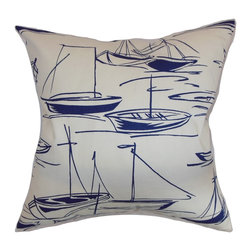 The Pillow Collection - Gamboola Nautical Pillow Navy - This nautical-inspired throw pillow features a graphical print which will surely remind you of adventure. The nautical print is in a navy blue hue and set against a white background. Pair this square pillow with solids or other patterns for a mix of elements. Place this pillow anywhere inside your home. Crafted from 100% soft cotton fabric. Hidden zipper closure for easy cover removal.  Knife edge finish on all four sides.  Reversible pillow with the same fabric on the back side.  Spot cleaning suggested.