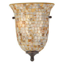 Quoizel - Quoizel MY8801ML Monterey Mosaic Traditional Wall Sconce - The lovely mosaic design on the glass shades is made from genuine pen shell, bringing the beauty of nature into your home. The playful curls of the metal body add a whimsical element to the overall style. Its looks as wonderful in a beach house as it does in a modern loft.