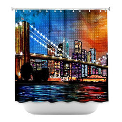 DiaNoche Designs - Shower Curtain Artistic - Brooklyn Bridge - DiaNoche Designs works with artists from around the world to bring unique, artistic products to decorate all aspects of your home.  Our designer Shower Curtains will be the talk of every guest to visit your bathroom!  Our Shower Curtains have Sewn reinforced holes for curtain rings, Shower Curtain Rings Not Included.  Dye Sublimation printing adheres the ink to the material for long life and durability. Machine Wash upon arrival for maximum softness. Made in USA.  Shower Curtain Rings Not Included.