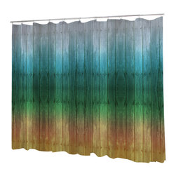 Uneekee - Uneekee Sun Cedar Shower Curtain - Your shower will start singing to you and thanking you for such a glorious burst of design as you start your day!  Full printing on the front and white on the back.  Buttonhole openings for shower rings.