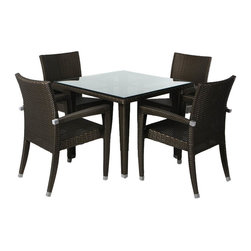 "All Things Cedar - All Things Cedar PR35-5 Rattan - 5pc Patio Table Set - UV inhibitors repel the damaging effects of the sun & harsh weather = maintenance free wicker. Welded aluminum joints are ground and polished. Wicker strapping is synthetic resin and hand wrapped for a natural, softer feel.     1/2"" tempered glass plate table top with beveled edges  4 Arm Chairs with with decorative aluminum leg ferrules  Heavy-gauge aluminum frame = no rust       Color:   Chestnut Brown (dark brown)  Dimensions:   Table: 35 x 35 x 29   Chair: 24 x 23 x 38   Seat 16 x 19 x 16H *Arm Height: 25   in. (w x d x h)  Cushions sold separately"