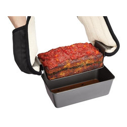 Chicago Metallic Healthy Meatloaf Set - This pan is enough to get even the seasoned chef excited for meatloaf.  The perforated  elevated insert allows the grease to drain away as your meatloaf cooks  meaning your meatloaf will be moist  healthy  and delicious. The non-stick coating ensures easy release with effortless cleanup every time and side-less lifting tray makes it easy to remove the meatloaf from the pan for serving.Product Features            Perforations drain fat and grease for a healthier meatloaf            Side-less lifting tray creates easy serving with mess-free slicing            3 easy steps - prepare & bake  remove & drain  slice & serve            Non-stick  easy release