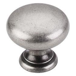 "Top Knobs - Mushroom Knob 1 1/4"" - Pewter Antique - Width - 1 1/4"", Projection - 1 1/8"", Base Diameter - 3/4"""