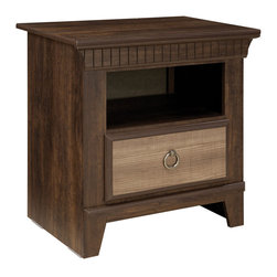 Standard Furniture - Standard Furniture Weatherly 1-Drawer Nightstand in Cherry and Weathered Brown - Weatherly bedroom has warm appealing character with its textured two-tone finish and versatile transitional styling, plus it has the smart advantage of a space conscious footprint.