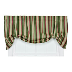 Ellis Curtain - Montego Stripe Green 60 x 24-Inch Tie-Up Window Valance - - Montego Stripe Tie-Up Valance--Stripes can change the look and feel of any room or space in your home. Stripe patterns that use tones from the same color family create a crisp visual interest that coordinates wonderfully with solid colors and many contrasting patterns. The Montego Stripe is a small scale multi colored vertically-oriented stripe pattern that draw the eyes up, and create the illusion of more height in the room. The soft 100-percent cotton duck fabric creates a softer texture and smoother draping effect that some times can't be achieved with inferior synthetic fabrics. The Tie-Up Valance is one piece valance with two strap ties sewn into a decorative 3-Inch rod pocket for easy hanging. Length is measured overall 24-Inch from header top to bottom of panel; width is measured overall 60-Inch   - A drapery rod, which is not included, is required to complete installation   - This item is dry clean only Ellis Curtain - 730462197351