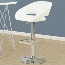 Monarch - White / Chrome Metal Hydraulic Lift Barstool - The contemporary design of these white bar stools is no doubt chic, thanks to sleek leather-look upholstery. Their unique bucket seat style are lightly cushioned for your comfort. The sturdy frame and convenient square shaped foot rest are finished in an ever so fashionable chromed metal finish. A full-swivel mechanism and easy-to-use hydraulic lift system will take you to stylish and comfortable dining.
