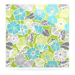 """Kess InHouse - Jacqueline Milton """"Trumpet Vine"""" Aqua Green Metal Luxe Panel (8"""" x 8"""") - Our luxe KESS InHouse art panels are the perfect addition to your super fab living room, dining room, bedroom or bathroom. Heck, we have customers that have them in their sunrooms. These items are the art equivalent to flat screens. They offer a bright splash of color in a sleek and elegant way. They are available in square and rectangle sizes. Comes with a shadow mount for an even sleeker finish. By infusing the dyes of the artwork directly onto specially coated metal panels, the artwork is extremely durable and will showcase the exceptional detail. Use them together to make large art installations or showcase them individually. Our KESS InHouse Art Panels will jump off your walls. We can't wait to see what our interior design savvy clients will come up with next."""