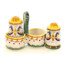 Artistica - Hand Made in Italy - Ricco Deruta: Salt/Pepper Cruet Cylindrical - Ricco Deruta: This product is part of the renown Ricco Deruta Collection.