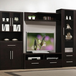 "Acme - 4-Piece Espresso Finish Wood Modern Styling TV Entertainment Center Wall Unit - 4-Piece espresso finish wood modern styling TV entertainment center wall unit. This unit comes with one side cabinet with 4 doors on the left, one TV stand with 2 drawers, one top shelf unit, and one side cabinet on the right with one door. TV stand measures 55"" wide x 20"" H. Measures 112"" wide x 79"" H x 19"" D. Some assembly required."