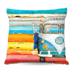 DiaNoche Designs - Pillow Linen - Danny Phillips Playing Hooky - DiaNoche Designs works with artists from around the world to create astouding and unique home decor products.  Add a little texture and style to your decor with our Woven Linen throw pillows.  The material has a smooth boxy weave.  Each pillow is machine loomed, then printed and sewn ALL IN THE USA!!!  100% smooth poly with cushy supportive pillow insert with a hidden zip closure. Dye Sublimation printing adheres the ink to the material for long life and durability. Double Sided Print, machine wash upon arrival for maximum softness. Product may vary slightly from image.