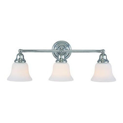 Dolan Designs - Brockport Chrome Three-Light Bath Light - -Satin White Glass  -9 of wire Dolan Designs - 493-26